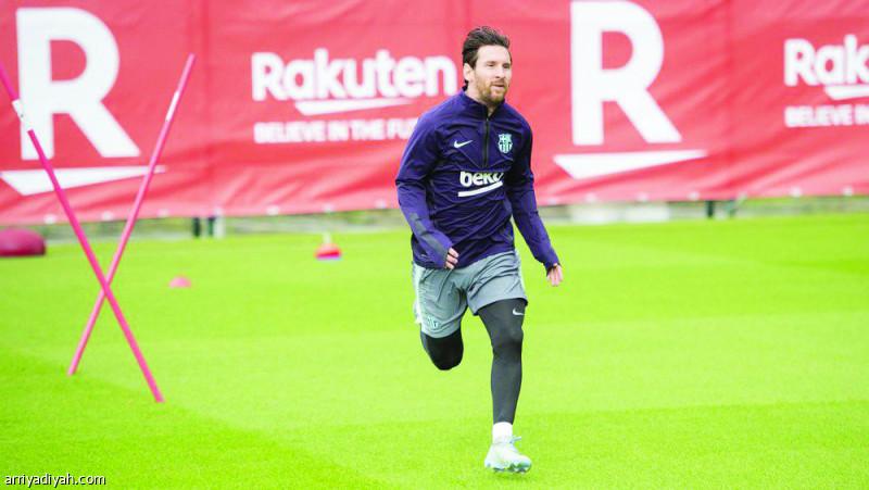صورة التقطت أمس لميسي بعد عودته لتدريبات الفريق الكتالوني (موقع برشلونة الرسمي)